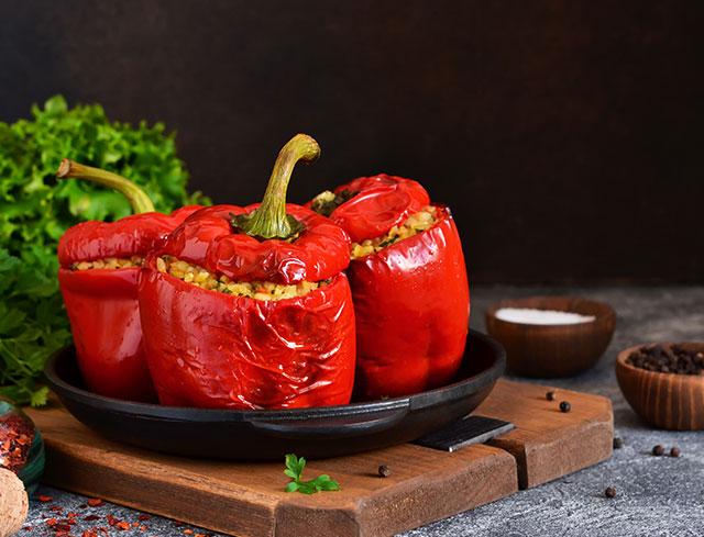 Poivron farcis au legumes et quinoa